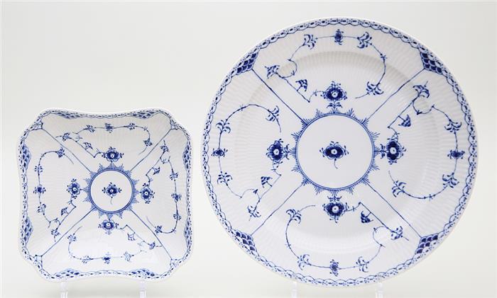 Runde Platte und vierpssige Schale, Royal Copenhagen