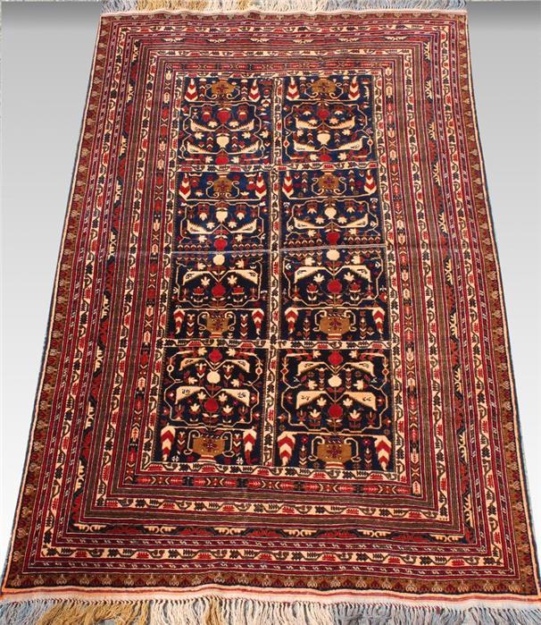 Afghan, mit Seide, ca. 200x 119 cm.